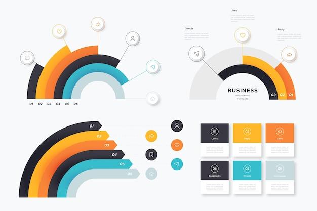 Плоский дизайн радиальной инфографики
