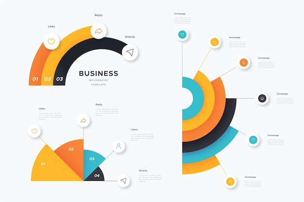 Flat design radial infographic