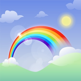 Flat design rainbow and sun
