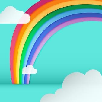 Плоский дизайн радуга с облаками