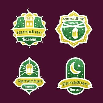 Flat design ramadan badge collection
