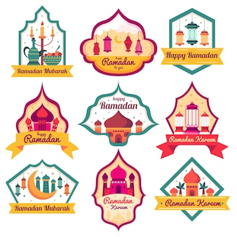 Flat design ramadan badge collection