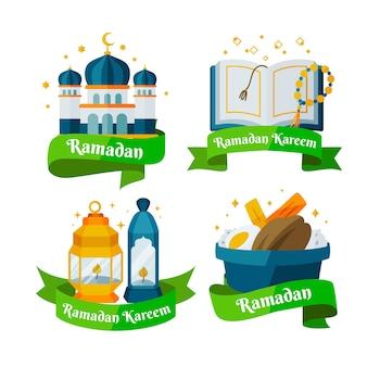 Flat design ramadan badges pack pack