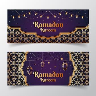 Flat design ramadan banner template design