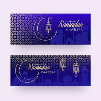 Flat design ramadan banner template theme