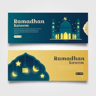 Flat design ramadan banners template