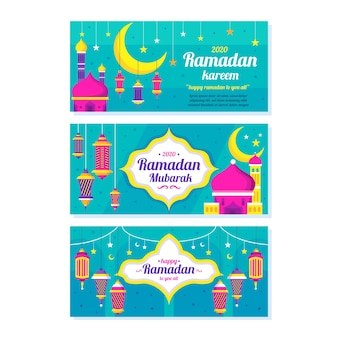 Плоский дизайн шаблона рамадан баннеры
