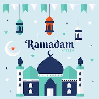 フラットなデザインのラマダンのお祝い