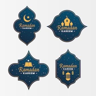 Flat design ramadan labels pack