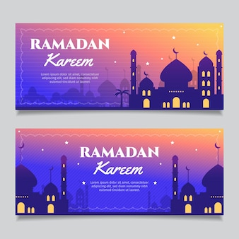 Flat design ramdan banner collection concept