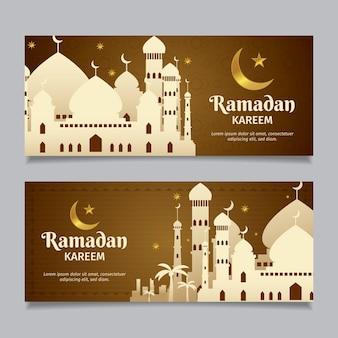Flat design ramdan banner collection design
