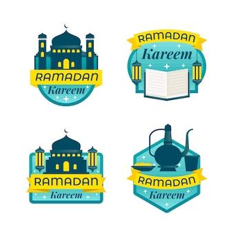 Flat design ramdan label collection design