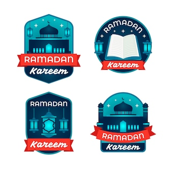 Flat design ramdan label collection theme
