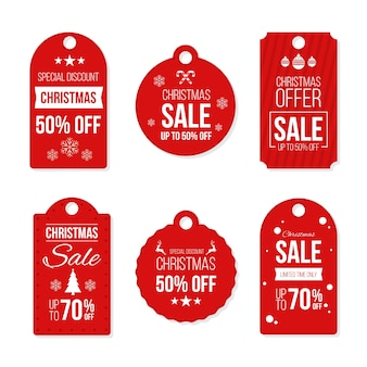 Flat design ready-to-use christmas gift tags