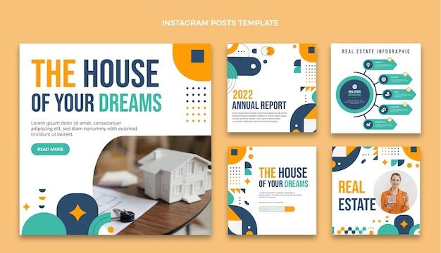 Набор постов в instagram с плоским дизайном