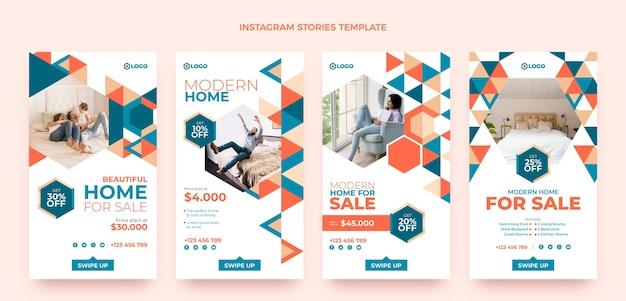 Flat design real estate instagram stories