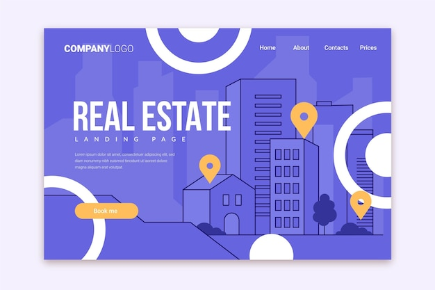 Flat design real estate landing page template