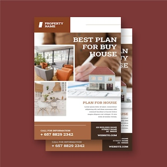 Flat design real estate poster template with photo