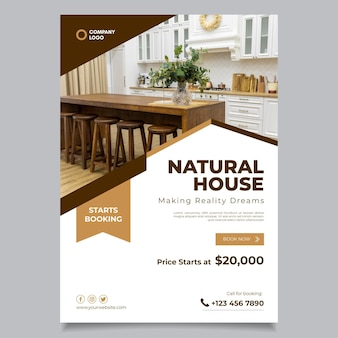 Flat design real estate poster with photo ready to print
