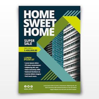Плоский дизайн плаката недвижимости с фотографией, готовой к печати
