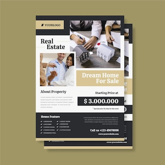 인쇄 준비가 사진과 함께 평면 디자인 부동산 포스터