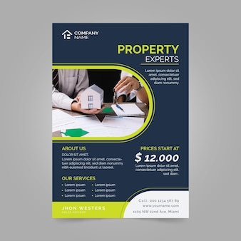 Flat design real estate poster with photo