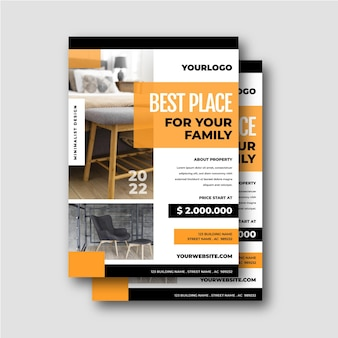 Плоский дизайн плаката недвижимости с фотографией