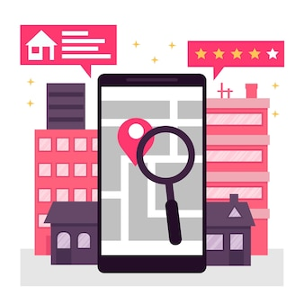 Flat design real estate searching with phone