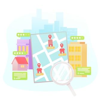 Поиск недвижимости в плоском дизайне с помощью планшета и лупы
