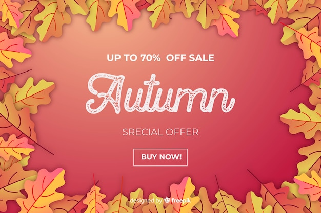 Flat design of red autumn sale