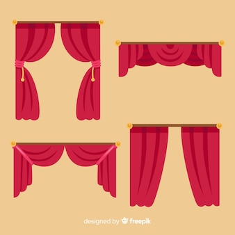 Flat design red curtain collection