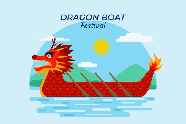 フラットなデザインの赤いドラゴンボートとパドルの背景