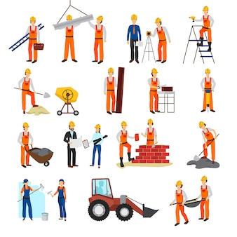 Flat design repairs construction process builders and equipment set isolated on white background vec
