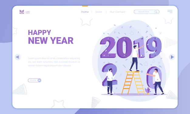 Flat design replace 2019 to 2020, new year theme on landing page