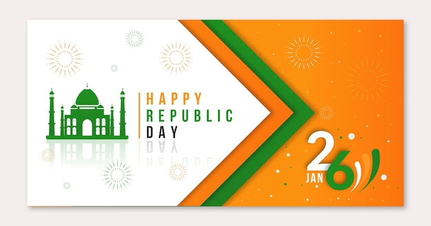 Flat design republic day banner