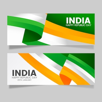 Flat design republic day horizontal banners