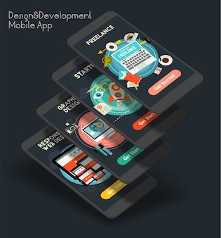 Flat design responsive design and development ui mobile app splash screens