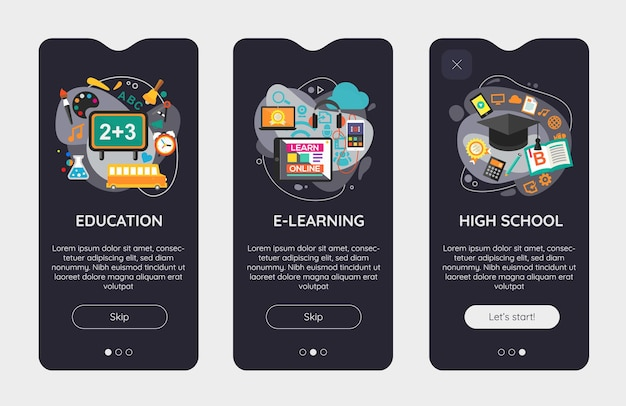 Flat design responsive e-learning and education ui mobile app splash screens template with trendy illustrations