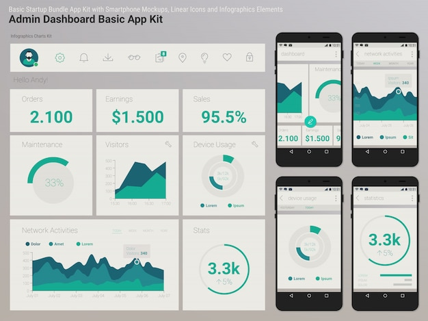 Flat design responsive management and administration dashbord ui mobile app template on trendy subtle blurred background, with smartphone s and infographics charts kit