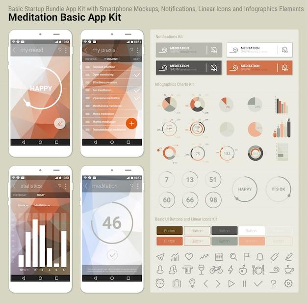 フラットなデザインのレスポンシブuiモバイルアプリとウェブサイトテンプレート