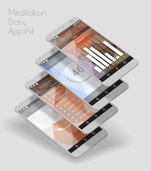 Мобильное приложение с плоским дизайном и адаптивным пользовательским интерфейсом с 3d s