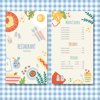 Flat design restaurant menu template