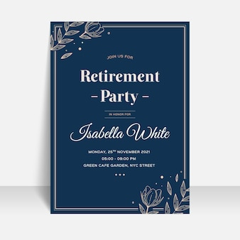 Flat design retirement greeting card template