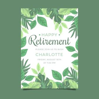 открытка на пенсию в плоском дизайне