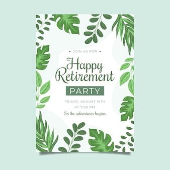 Flat design retirement greeting card