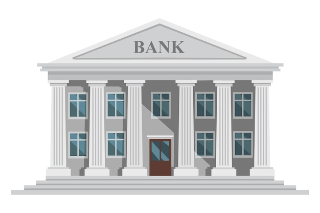 열 및 windows 벡터 일러스트와 함께 평면 디자인 복고풍 은행 건물 흰색 배경에 고립