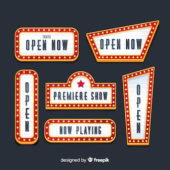 Flat design retro theater signs collection