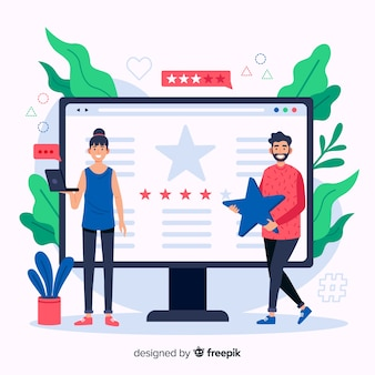 Flat design reviews concept illustration