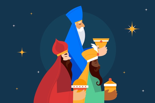 Flat design reyes magos day