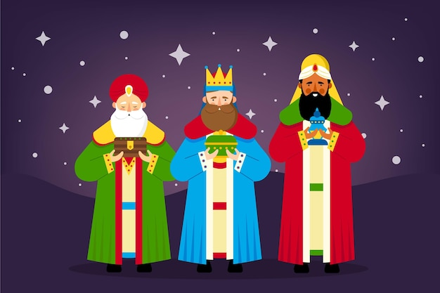 Flat design reyes magos illustration